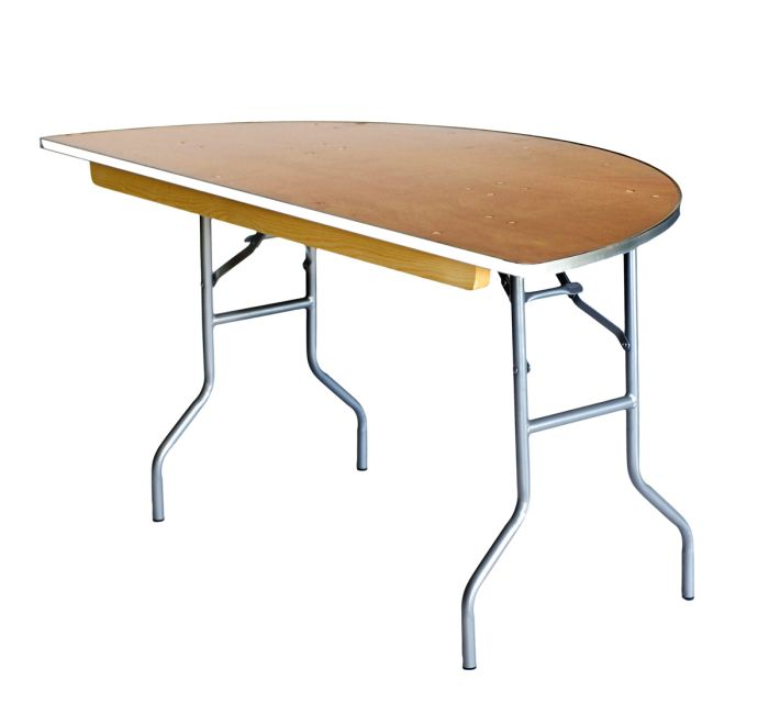 """60"""" Half Round Heavy Duty Banquet Table with Metal Edges 3"""