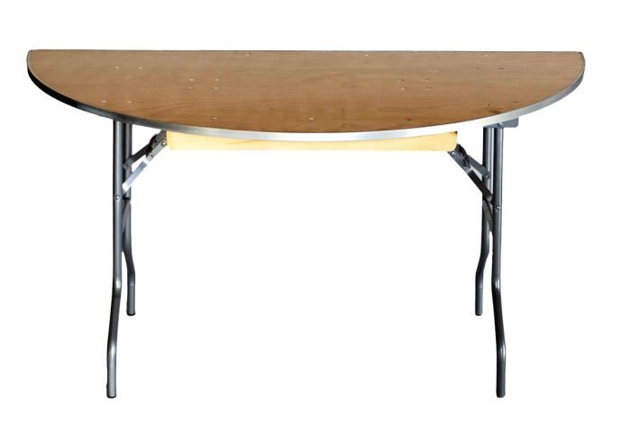 """60"""" Half Round Heavy Duty Banquet Table with Metal Edges 4"""