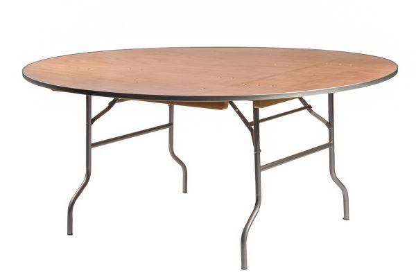 """72"""" Round Banquet Table with Metal Edges"""